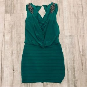 Cache green bodycon Roman Greco style dress